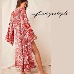 Free People Enchanted Robe Kimono in Palace Pink